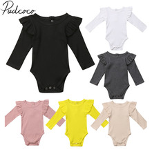 Outfit Bodysuits Long-Sleeve Ruffles Infant Baby-Girls Newborn Boys Kids Brand-New Solid