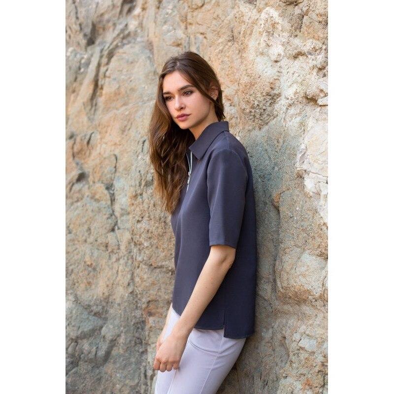 Blouse with zipper. Color gray. irregular hem color spliced zipper design long sleeves slimming men s high collar knitting sweater