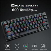 MantisTek GK3 61 bluetooth Wired Dual Mode Cherry Switch RGB 60% Mechanical Gaming Keyboard LED Backlit Ergonomic Game Keyboard