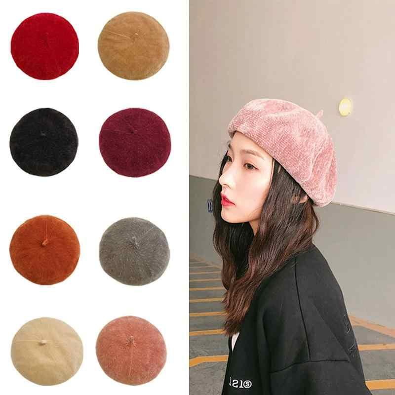 Lady spring Winter Berets Hat Painter style hat Women Wool Vintage Berets  Solid Color Caps Female 9fc618acabc7