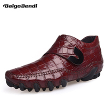 Fashion Crocodile Print Moccasins Men Octopus Casual Shoes Hook Loop Genuine Leather Oxfords Business Man Leisure Shoes 2016 men business genuine leather daily leisure oxfords casual crocodile wedding casual flat leather oxford men shoes