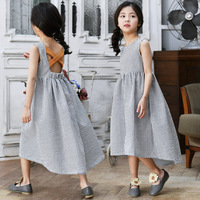 Elegant England Big Girls Dresses Party Pageant Prom Self design Teens Dress Linen Princess Fashion Girl Clothes 8 10 12 year
