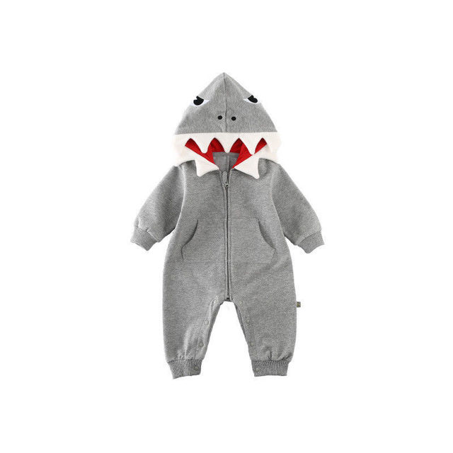 8e6ce378926c Newborn Baby Boys Girls Shark Hooded Romper Autumn Winter Long ...