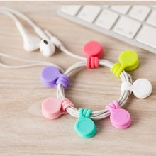 1Pcs Earphone Cable Winder Silicone Wire Cable Organizer Magnet Coil Earphone Headset Key Cord Wire Earphone Storage Holder(China)