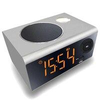 Mini LED Alarm Clock night light Bluetooth Speaker Stereo Music USB Port Charging AUX Slots For phone/ tablet Player FM Radio