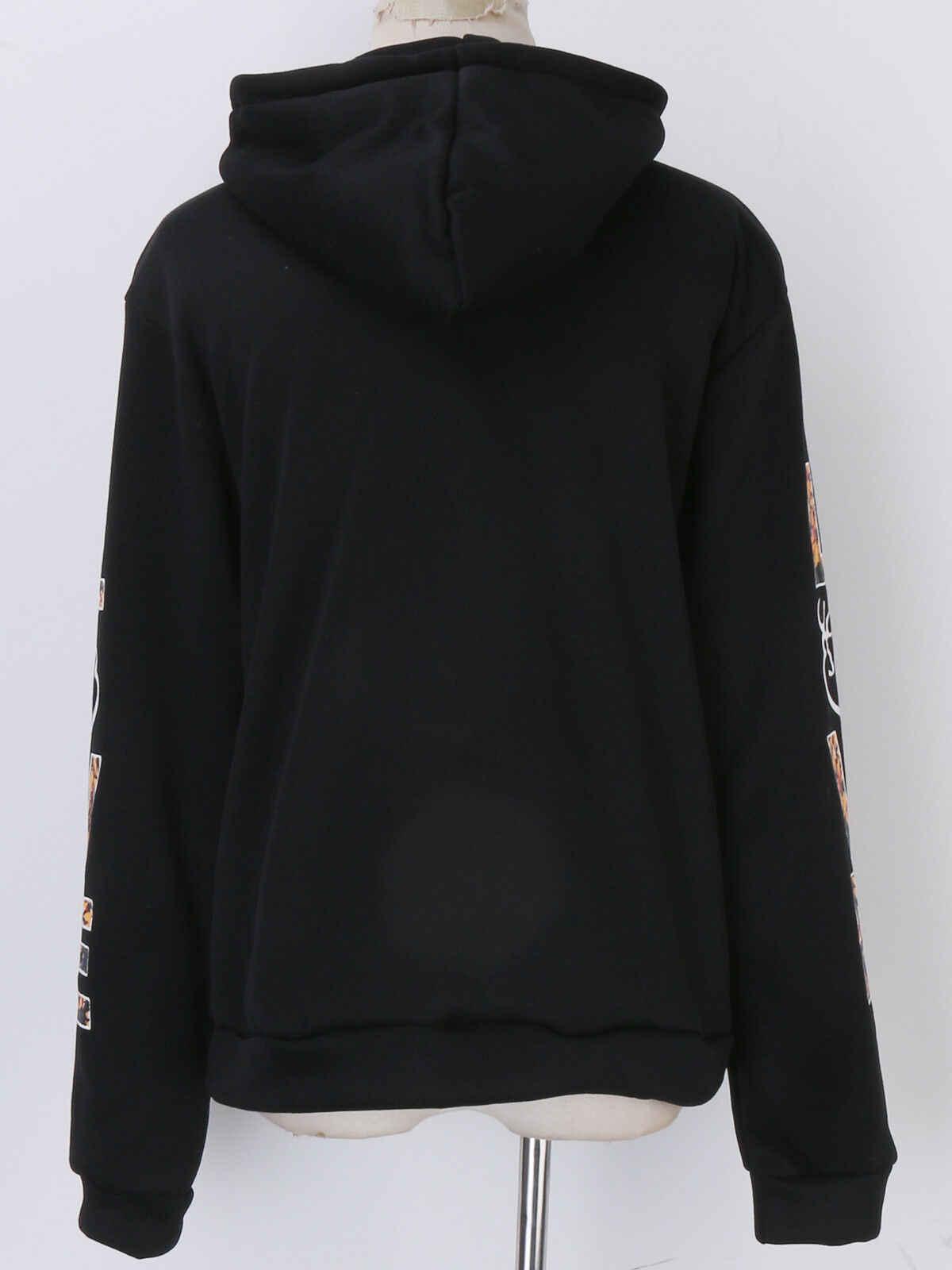 ผู้หญิงฤดูหนาวสบายๆ Hoodie Pullover ผ้าฝ้ายเสื้อกันหนาว Hooded Coat กราฟิก TOP
