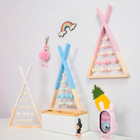 Nordic Style Wooden Triangle Wall Shelf Wooden Counting Toy Abacus Gift Idea For Kids Children Room Decoration Nursery Decor