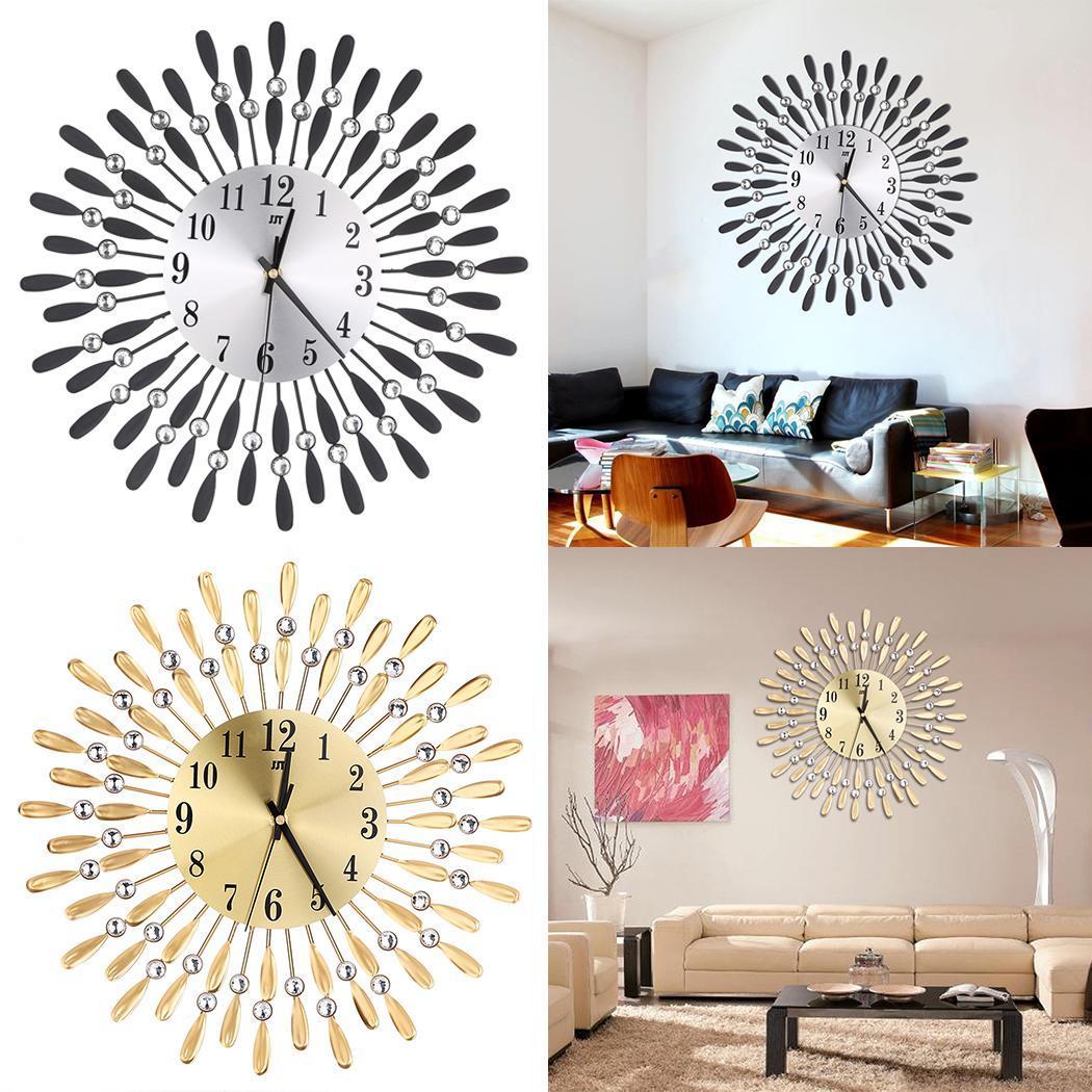 New Flower Shape Home Wall Modern Aluminum mirror Art Battery 850g Decor Metal Wall Indoor Pointer Clock