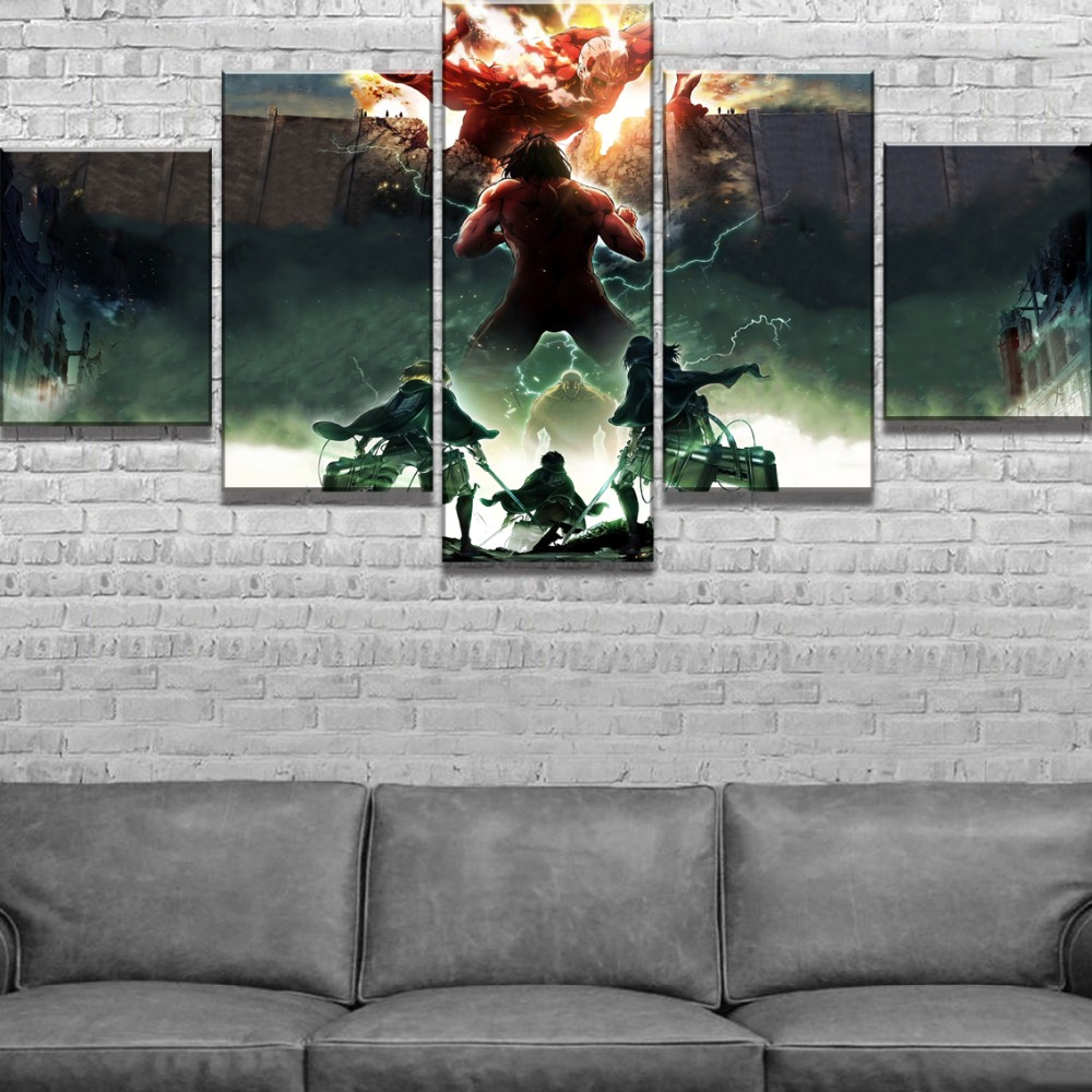 5 Panel HD Print Painting Attack on Titan Modern Decorative Paintings on Canvas Wall Art for Home Decorations Wall Decor Artwork in Painting Calligraphy from Home Garden
