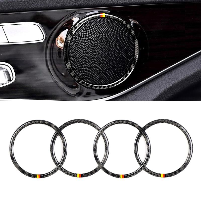 Image 2 - For Mercedes Benz W205 C180 C200 C300 GLC260 4pcs/set Carbon Fiber Car Door Speaker Ring Loudspeaker Sticker Cover-in Interior Mouldings from Automobiles & Motorcycles