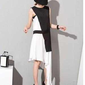 Image 4 - EAM robe assise, sans manches, asymétrique, 2 pièces, élégante, nouvelle couleur noire, blanche, col rond, printemps été, 2020