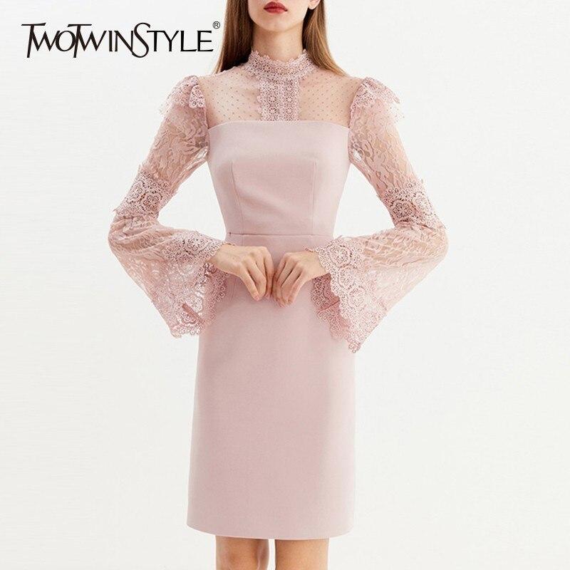6b47773afd25 Delle Twotwinstyle Chiarore Abiti Di Moda Da Nuovo Dress Dress Merletto  Autunno pink Femminile Del Nero Vestito Mini Rappezzatura Elegante  Manicotto Vestiti ...
