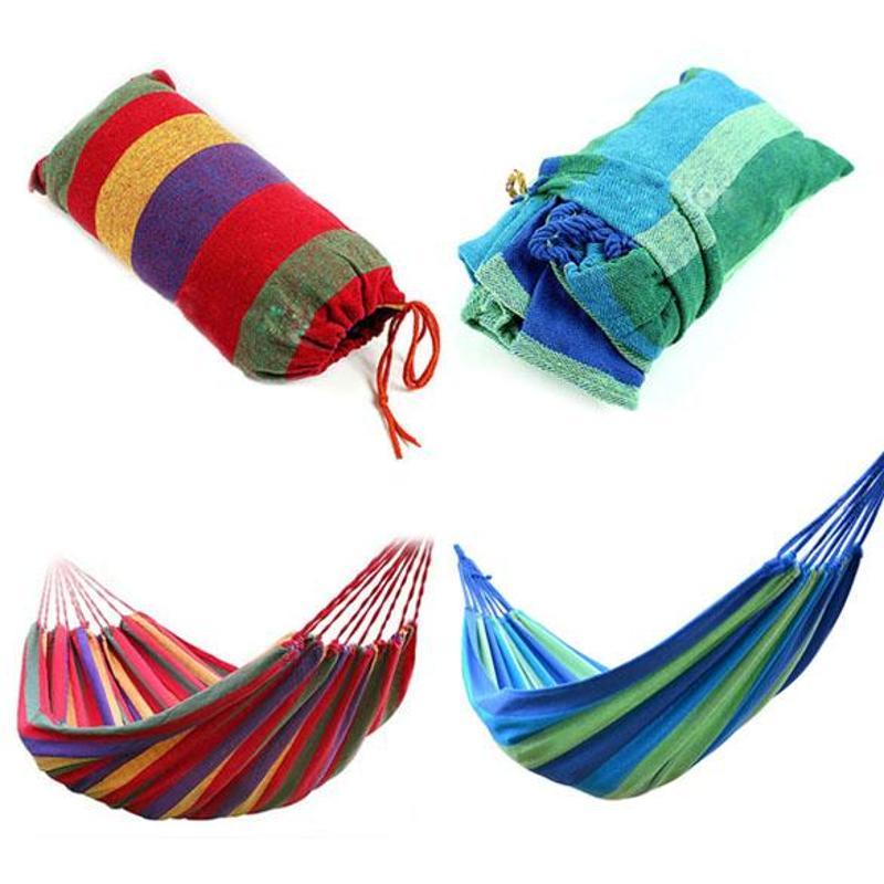 Portable Outdoor Garden Hammock Hang BedTravel Camping Swing Canvas Stripe Hammock Hunting Sleeping Bed Drop Shipping