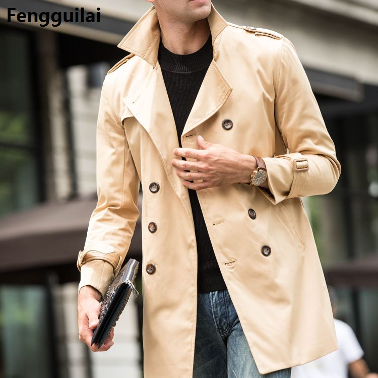 high Quality British Slim double breasted mens long trench coat Europe trenchcoat jacket male coat trench fast shipping