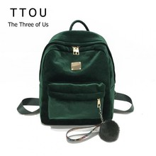 TTOU Backpack Best Velvet Ribbon Backpack Female Fashion Girl Travel Bag Hairball Women Backpack Rucksack Bagpack