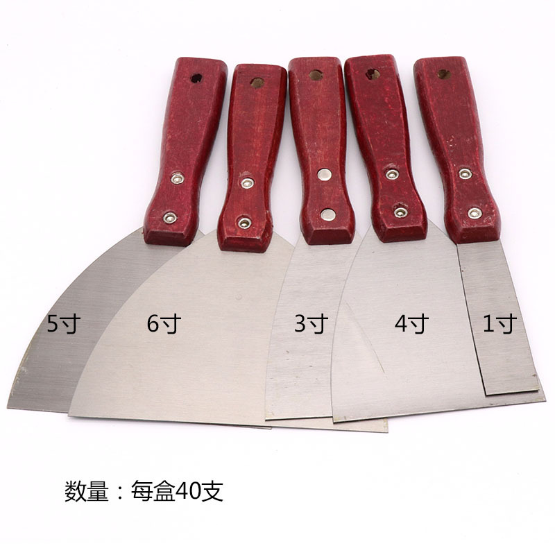 Red Wooden Handle Thick Stainless Steel Putty Knife Paint Triangle Knife Gua Hui Dao Putty Knife Pihui Clean Blade
