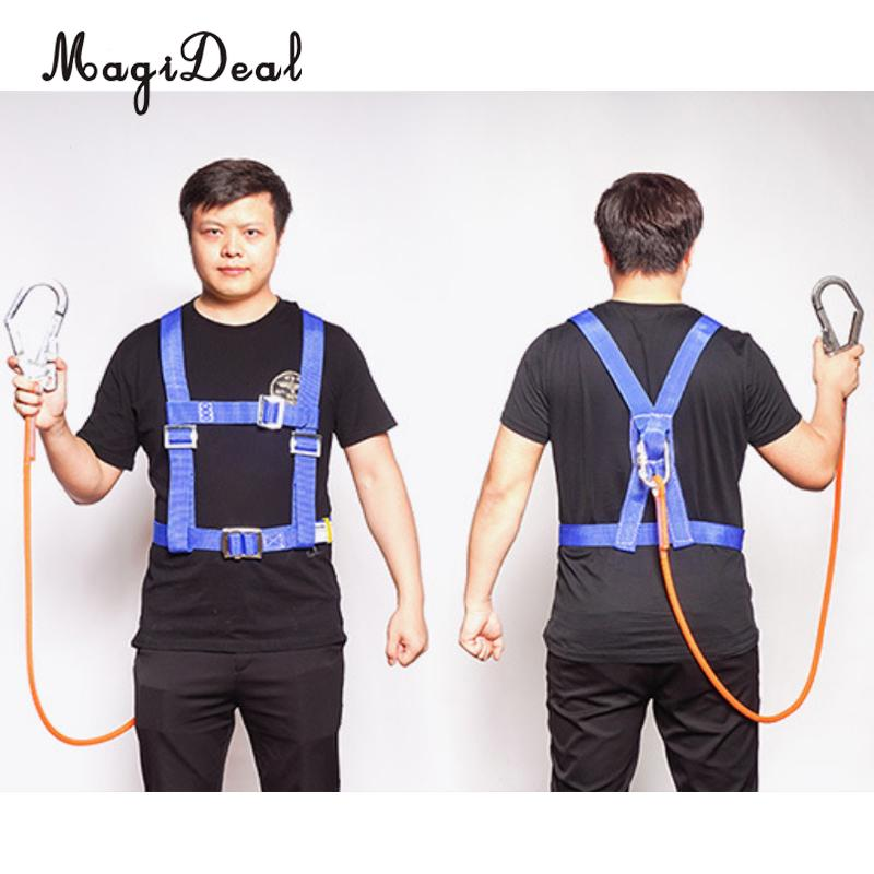 Rock Climbing Half Body Fall Protection Safety Harness Belt Lanyard With Carabiner CE Mountaineering Rescue Tree Arborist