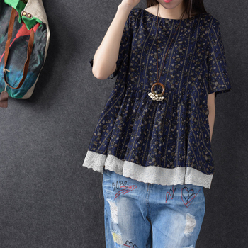ZANZEA 2020 Summer Blouse Women Vintage Blusas Casual Floral Lace Up Shirt Top Short Sleeve Work Blusa Feminina Plus Size 5XL plus lace panel floral blouse