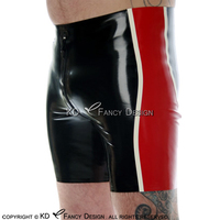 Black With Red And White Sexy Long Leg Latex Boxer Shorts With Crotch Zipper Underwear Rubber Boy Shorts Bottoms DK 0178