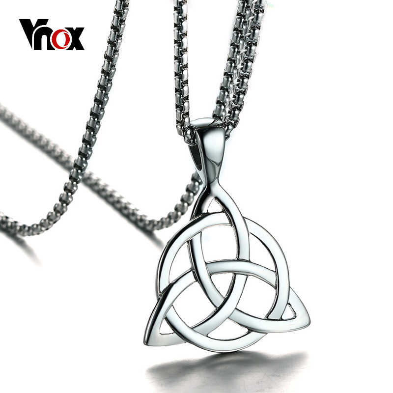 """Vnox Interlocked Knot Pendant Men Necklace Stainelss Steel YHWH Theological Theory Symbol Cross Male Jewelry Free 24"""" Chain"""