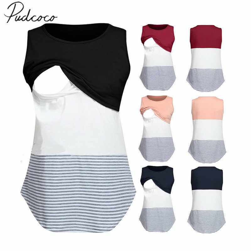 Novedad 2019, ropa de maternidad, Top para amamantar lactancia, camiseta para mujeres embarazadas, Tops casuales sin mangas de retales a rayas