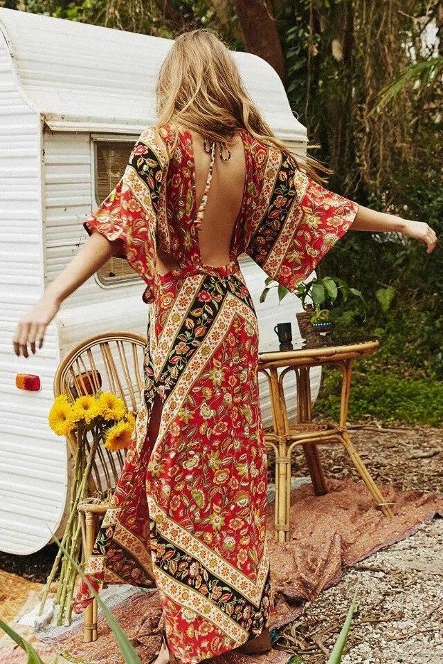 Impression longue robe bohème grande balançoire femmes chuté rayonne maxi robe dos nu chic boho flare robe boho robe de fête folk tenue tenue marocaine