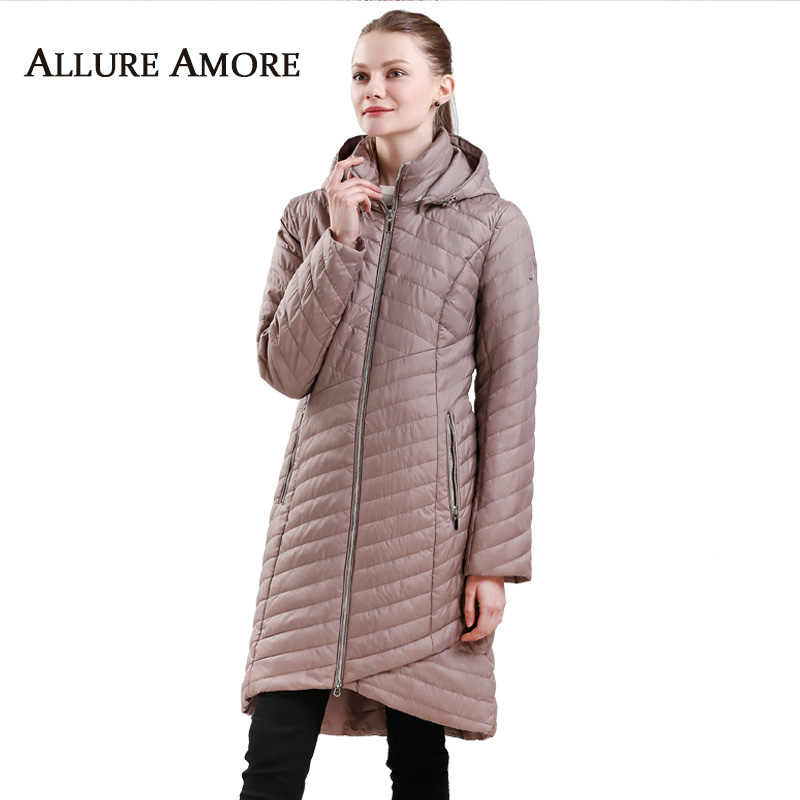 Spring Women Long Parka New Stand-up Collar Elegant Coat female Warm Slim Jacket Plus Size Removable Hooded Coats AllureAmore