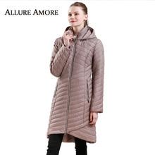 Весенняя женская длинная парка, новое элегантное пальто с воротником-стойкой, женская теплая тонкая куртка, большие размеры, съемные пальто с капюшоном AllureAmore