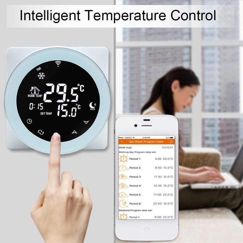 Thermostat Intelligent de contrôleur de température de WiFi pour le système Intelligent de contrôle de température d'affichage à cristaux liquides de maison d'alexa/Google
