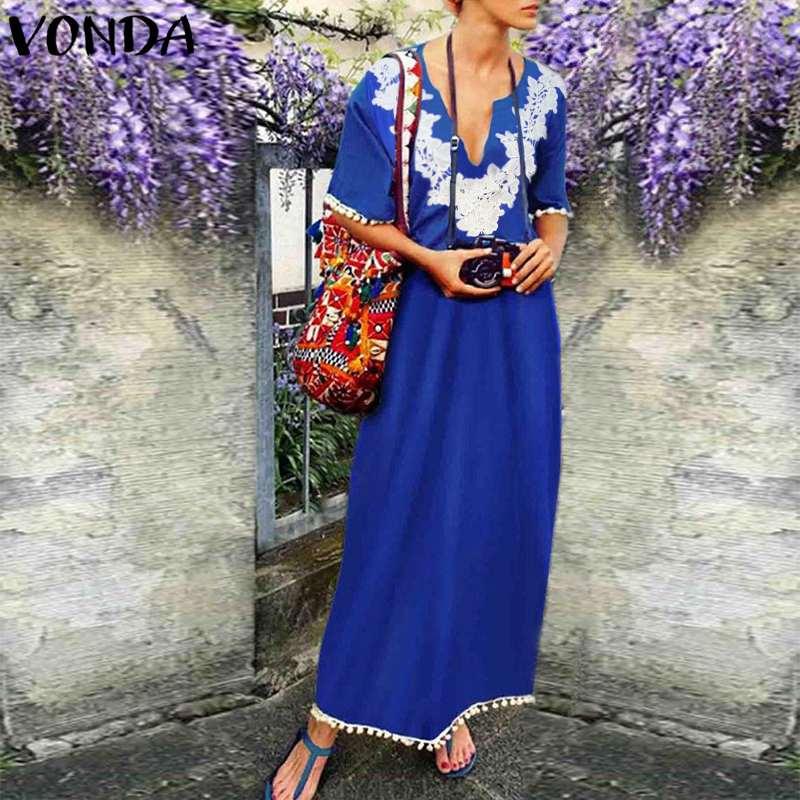 VONDA Women Maxi Long Dress 2018 Summer Boho Casual Loose Tassel Lace Crochet Patchwork Ankle-length Vestidos Plus Size Oversize