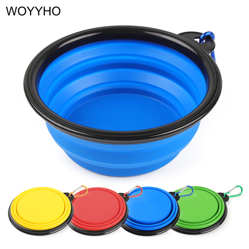 Folding Silicone Dog Bowl Portable Traveling Outdoor Drinking Water Dish For Small Medium Dogs Puppy Cats Pet Feeder 4 Colors