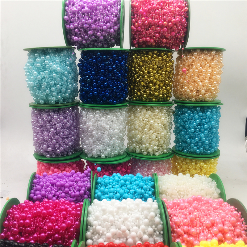 8mm Beads Headgear Flowers Fishing-Line Christmas-Decoration Artificial-Pearls-Beads