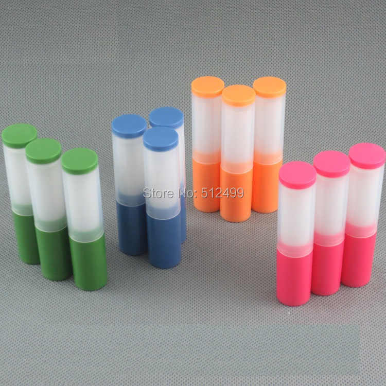 10/50/100/300 pcs DIY 4g ขนาดเล็กลิปสติกโดยตรงเติม Lip balm พลาสติกหลอดร้อนบรรจุสีส้มสีฟ้าสีแดงสีเขียว