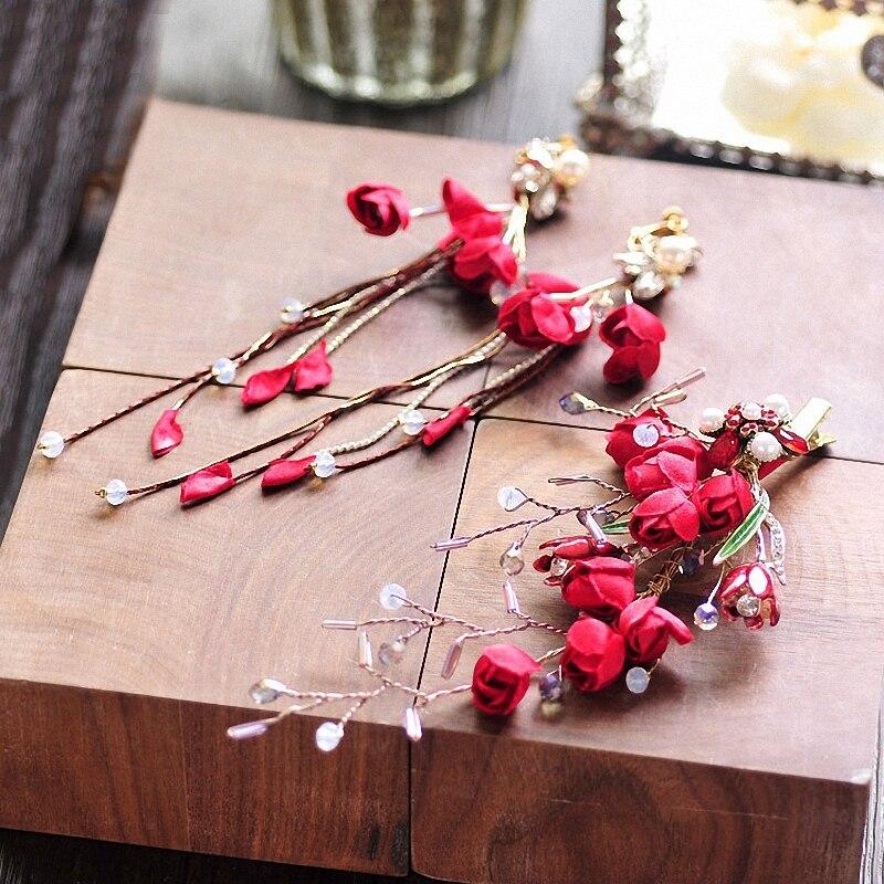 Красная ткань цветок заколка для волос висячие серьги ювелирный набор для свадьбы головной убор невесты Цветочные Заколки женские вечерни