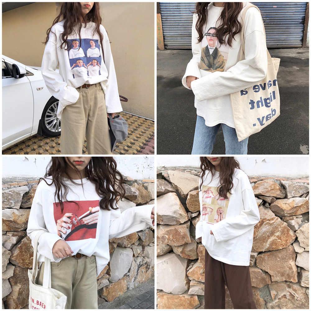 Модные футболки женские пуловеры с длинными рукавами свободные футболки Harajuku Белые Повседневные уличный сверхразмерный Топ хлопковые футболки