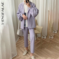 SHENGPALAE 2019 Korean Fashion Solid Color Turn down Collar Suit Flare Sleeve Top+trousers New Spring Summer Set Women FM51301XL