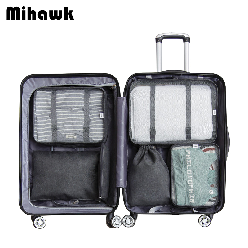 Mihawk 6Pcs/Set Fashion Packing Cubes Bag Waterproof Travel Large Capacity Of Unisex Clothing Sorting Organize Wholesale Supply