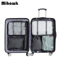 Mihawk 6Pcs/Set Fashion Packing Cubes Bag Waterproof Travel Large Capacity Of Unisex Clothing Sorting Organize Wholesale Supply
