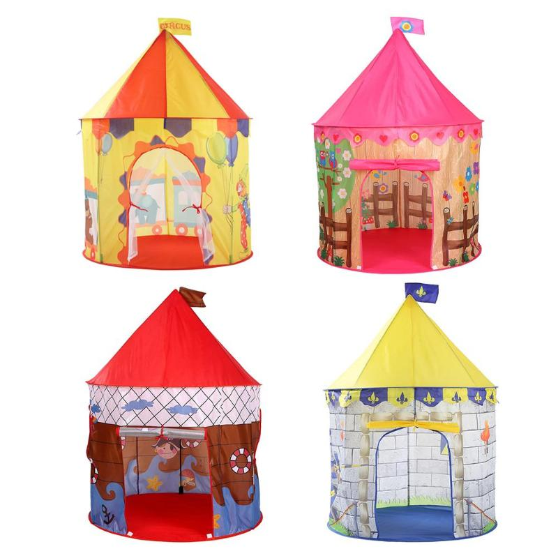 Play Tent  Foldable Tipi Prince Pricess Folding Tent Children Boy Girl Castle Cubby Play House Kids Gifts Outdoor Toy Tents