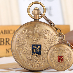 Tourbillon Double-headed Eagle Pocket Watches for Women Pure Copper Pendant Watch with Phase Sun Moon 24 Hour for Men Friends