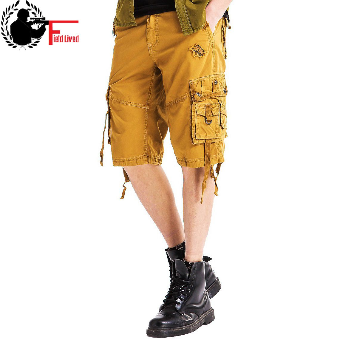 Cargo-Shorts Breeches Bermuda Many-Pockets Military-Style Army Male Cotton Summer Casual