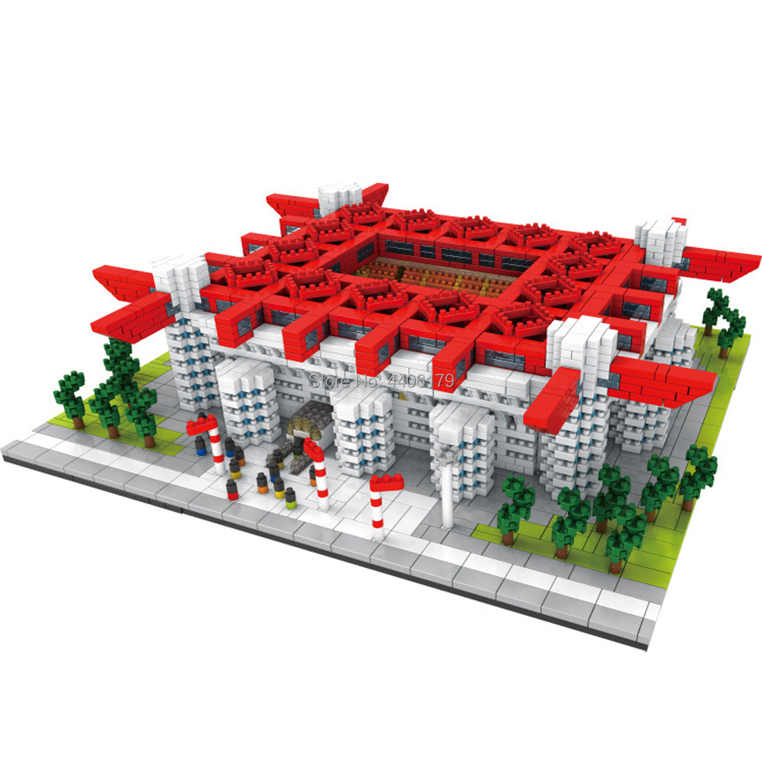 hot Lepining creators city Street view <font><b>inter</b></font> AC <font><b>Milan</b></font> San Siro <font><b>Soccer</b></font> field mini micro diamond blocks model bricks toys for gift image