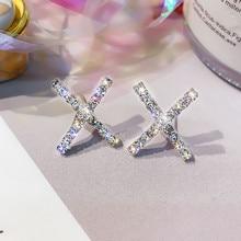 FYUAN Geometric Stud Earrings for Women 2019 Bijoux Silver Color X Shape Rhinestone Earrings Statement Jewelry Party Gifts