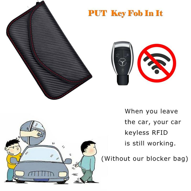 Image 3 - Signal Blocking Bag Cover Signal Blocker Case Faraday Cage Pouch For Keyless Car Keys Radiation Protection Cell Phone-in Key Case for Car from Automobiles & Motorcycles