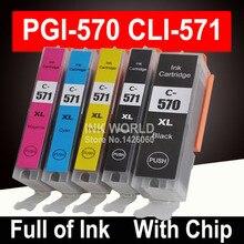 Для Canon Pixma TS5050 TS6050 MG5750 MG6850 картриджи для принтера PGI570 5 видов цветов