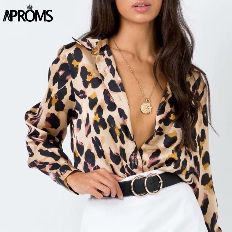 Aproms High Street Animal Skin Print Long Sleeve Blouse Women Autumn Winter Casual Loose Tops Turn-down Collar Shirt Blusas 2019