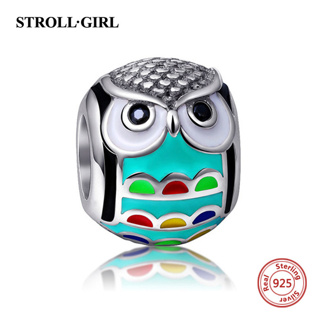 enamel charm owl pendant charms 925 sterling silver original fit authentic Pandora bracelet beads for women jewelry making gift