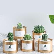 2018 INS Sáng Tạo Kim Loại Chậu Hoa Vườn Hoa Retro MỤC VỤ Phong Cách Tranh Sắt Bình Trữ Máy Tính Để Bàn Trang Trí