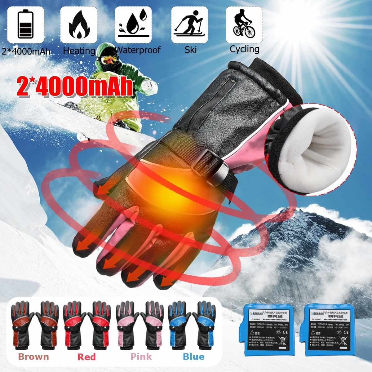 4000mah Rechargeable Waterproof Motorcycle Electric Heated Gloves Skiing Winter Hands Warmer Outdoor Safety Heating Glove