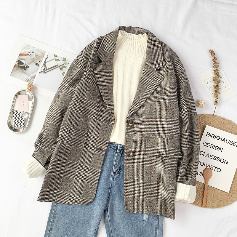 Autumn Korean Vintage Plaid Blazers Women Fashion Art Style Loose Notched Two Buttons Blazer Female All Match Casual Clothing